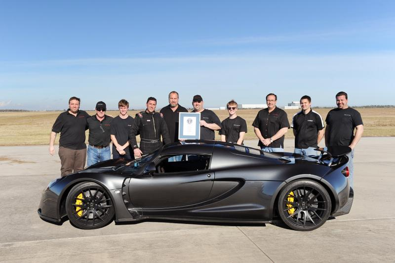 The Hennessey team with the record-breaking Venom GT