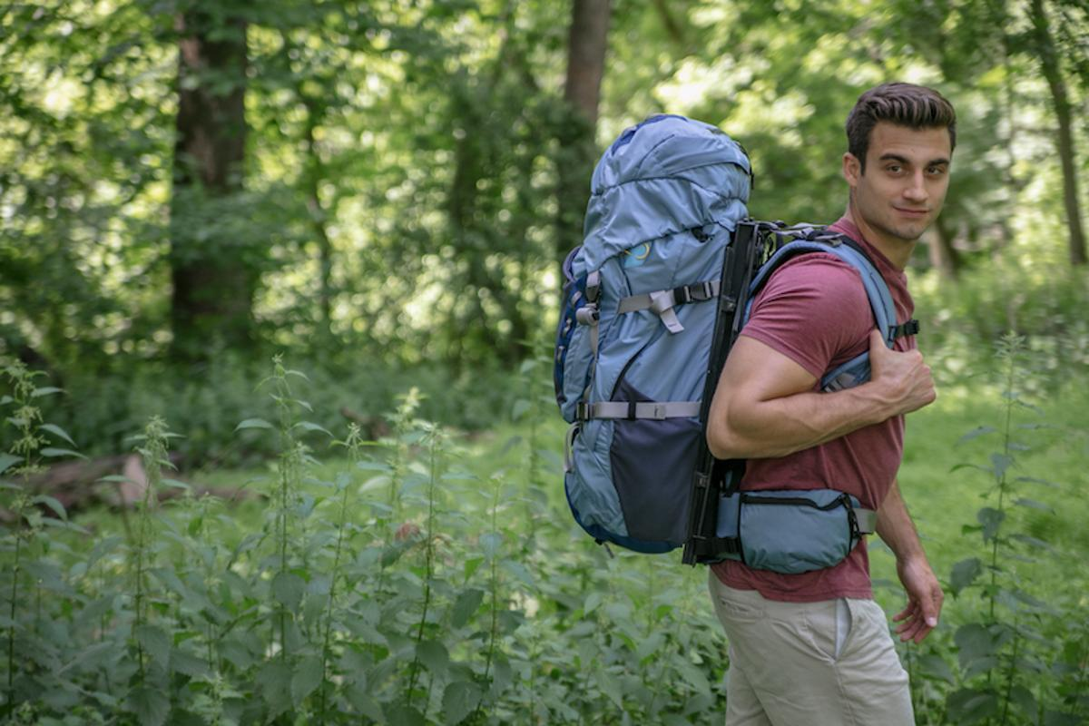 The HoverGlide backpack is designed to make your backpack feel lighter, by canceling out the natural bounce in your step