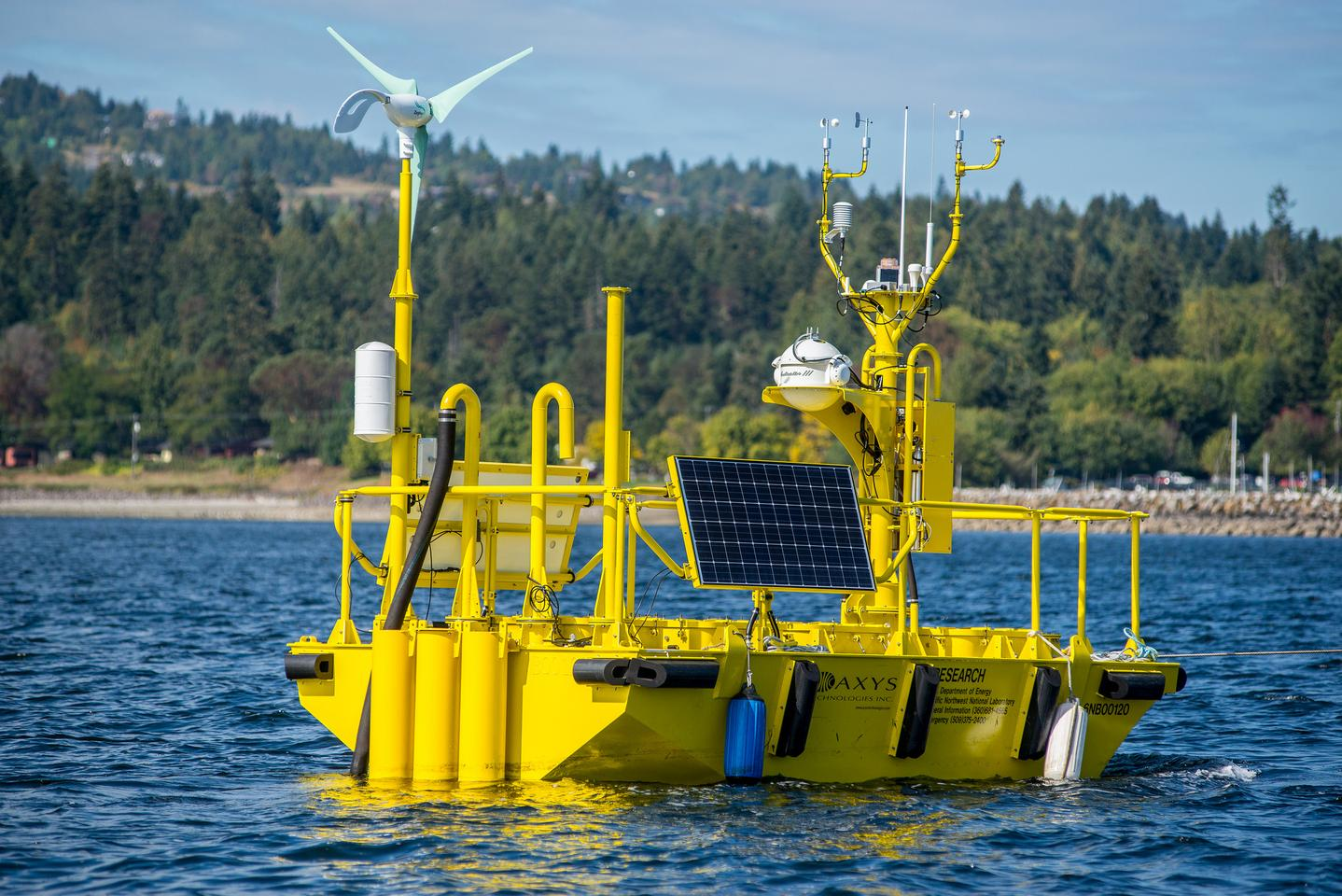 This large buoy has an array of advanced scientific instruments to measure offshore wind energy potential (Photo: PNNL)