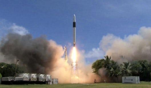 The Falcon 1 lifts off in 2008, on its way to becoming the first privately developed liquid fuel rocket to reach  Earth orbit