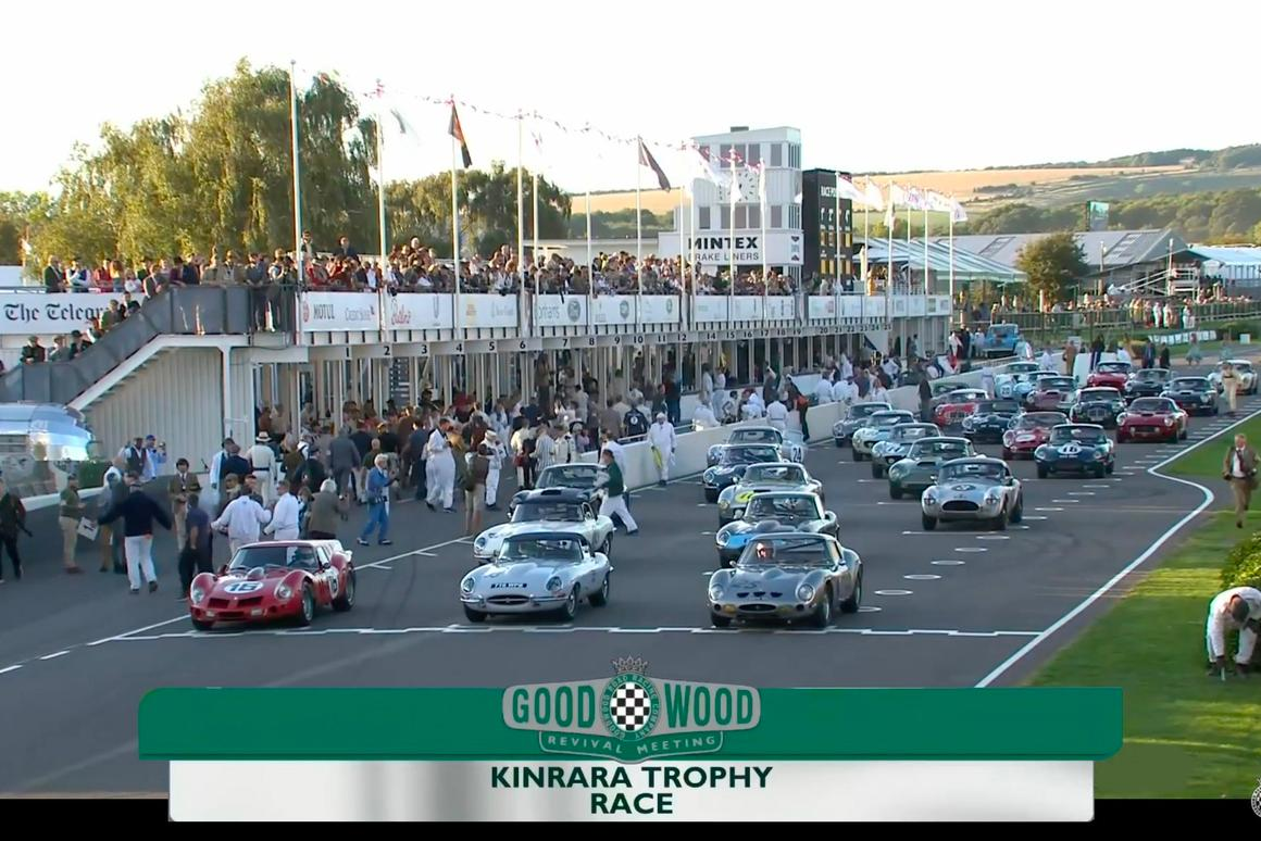 The Kinrara Trophy race at Goodwood Revival included  a Ferrari 250 GTO, an even rarer Ferrari 330 GTO, nine Ferrari 250 GT SWBs, four Aston Martin DB4 GTs, a pair of Austin Healey 3000s, two AC Cobras, and eight Jaguar E-types.