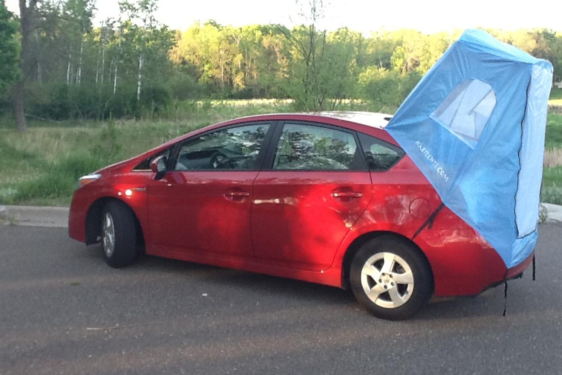 For less than $100, the Habitents turns your Prius into a functional sleeping shelter