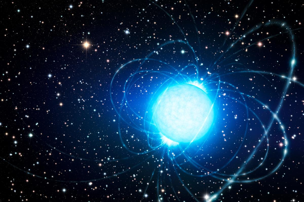 An artist's impression of the magnetar in the Westerlund 1 star cluster (Image: ESO/L. Calçada)