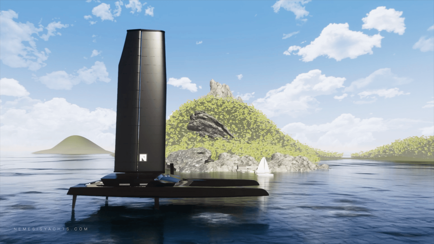 The Nemesis One will rise out of the water on hydrofoils for low-drag cruising and high top speeds