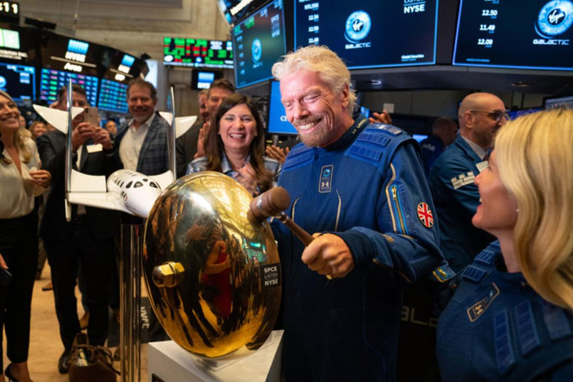 Sir Richard Branson ringing the bell at the New York Stock Exchange