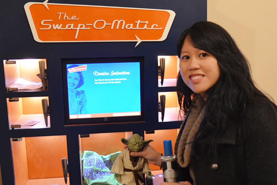 Inventor Lina Fenequito with the Swap-O-Matic