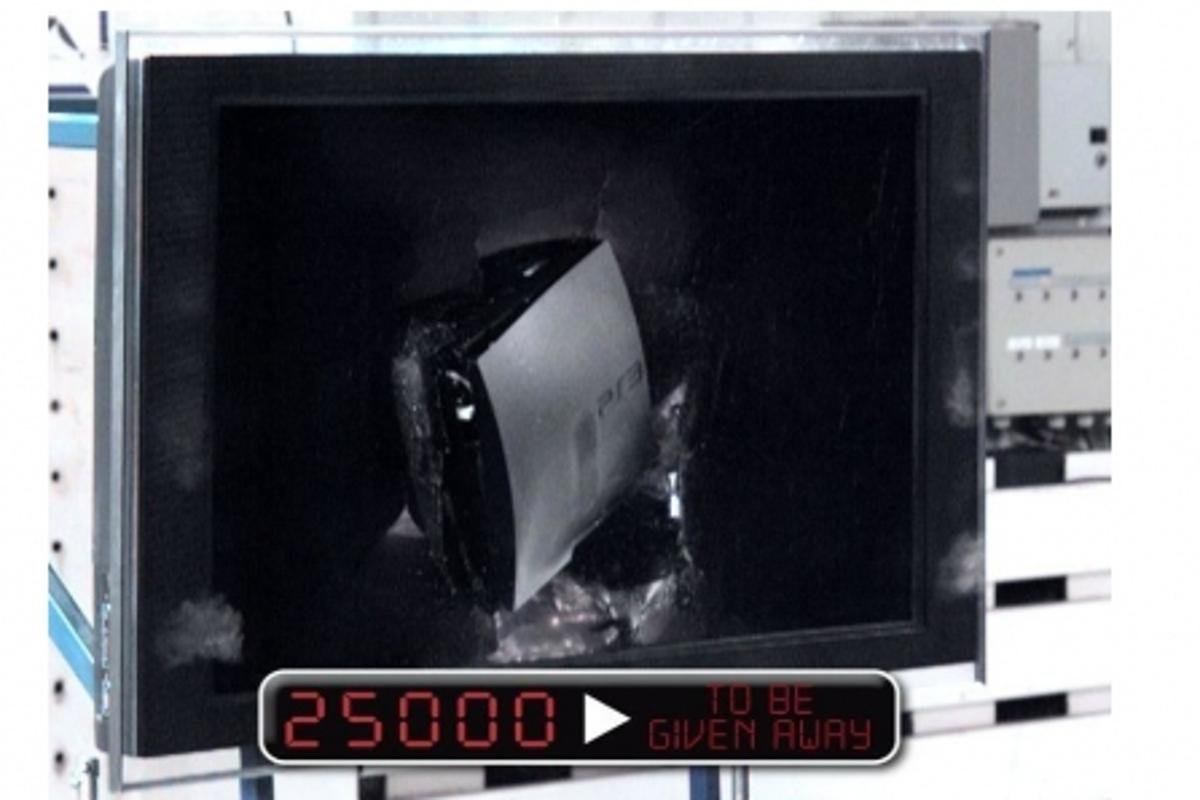 Point of impact ... the PS3 crashes into the Sony Bravia LCD TV at 50mph