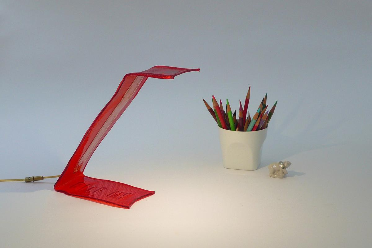"""The colorful frame of Victor Vetterlein's """"BITE ME"""" desk lamp is made from edible bio-plastic and can be either eaten or thrown in the compost at the end of its useful life"""