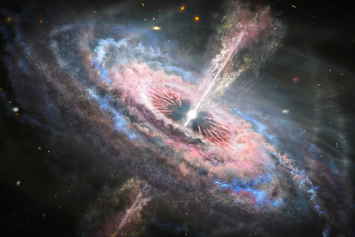 An artist's illustration of an active galactic nucleus (AGN), complete with large radio jets. Galaxy Arp 187 has the remains of these jets but the center has fallen silent