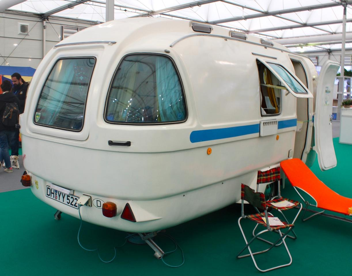 1973 Ferdinand Schaefer 500 polyester caravan on display in the Oldtimer section