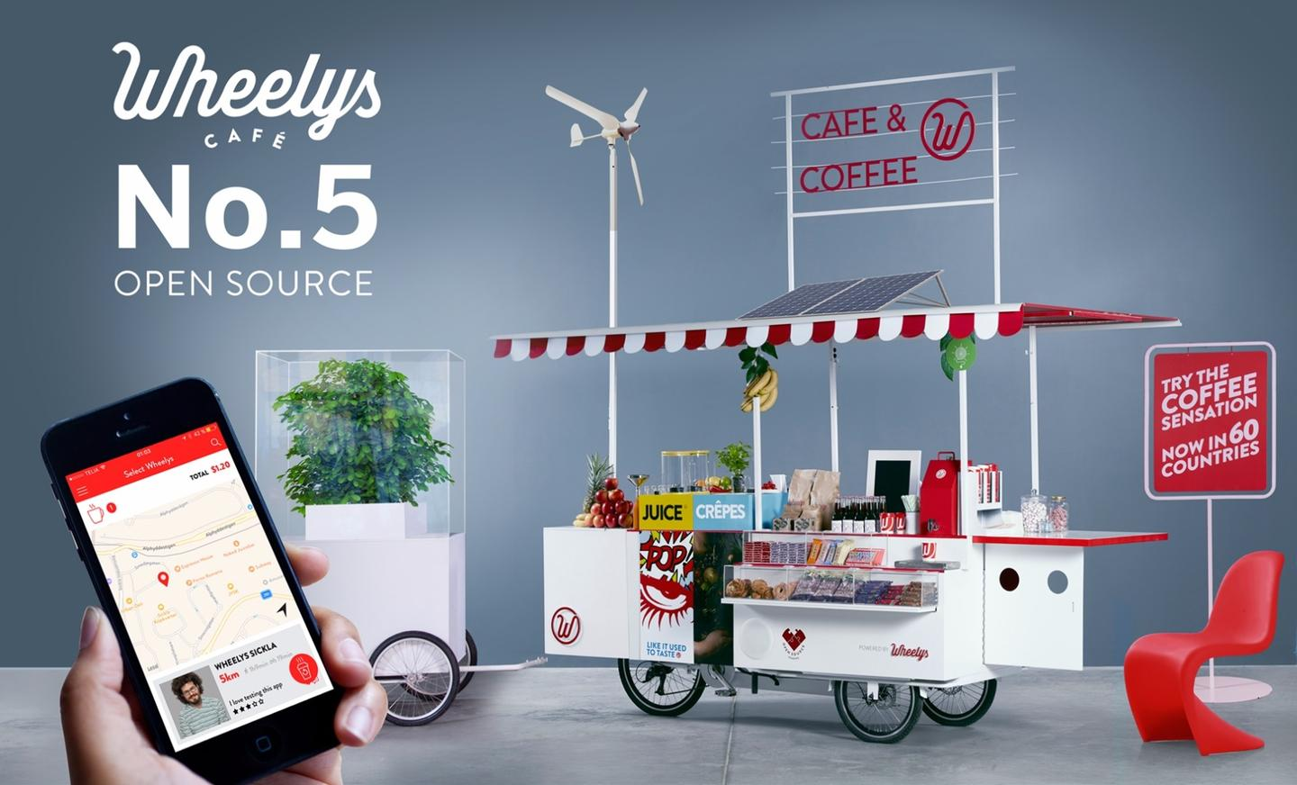 """The Wheelys 5 bike is dubbed the """"Open Source,"""" because it can be tailored and adapted to the barista's requirements"""