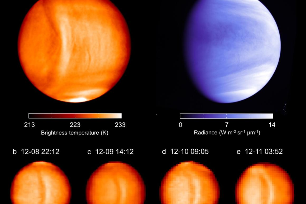 Brightness temperature and UV brightness observations of Venus reveal an odd structure in the upper atmosphere