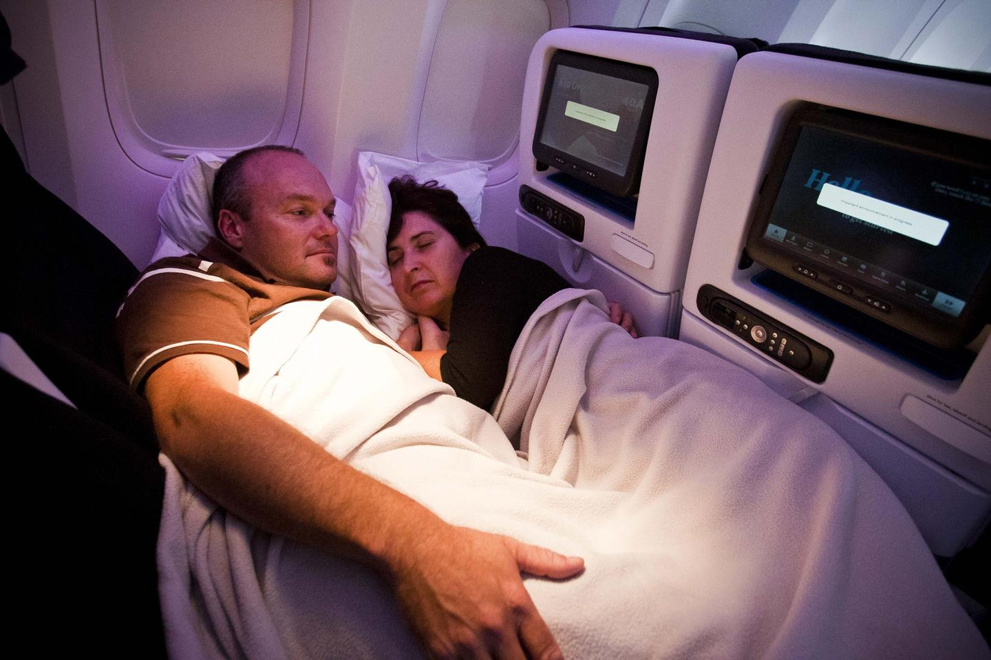 Andy and Barbara Maclean, passengers on Air New Zealand's 777-300ER's inaugural flight from Los Angeles to London, were some of the first cuddlers in the new Skycouch