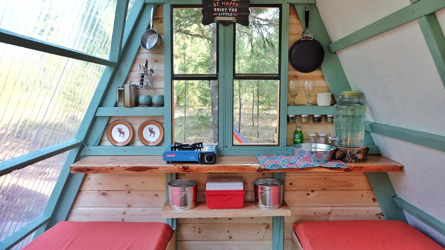 The interior of the cabin measures 80 sq ft (7.4 sq m)