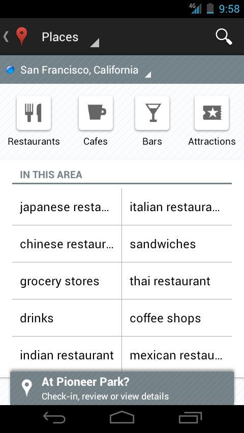 The Places home screen has also been refreshed to include some popular searches for your current location