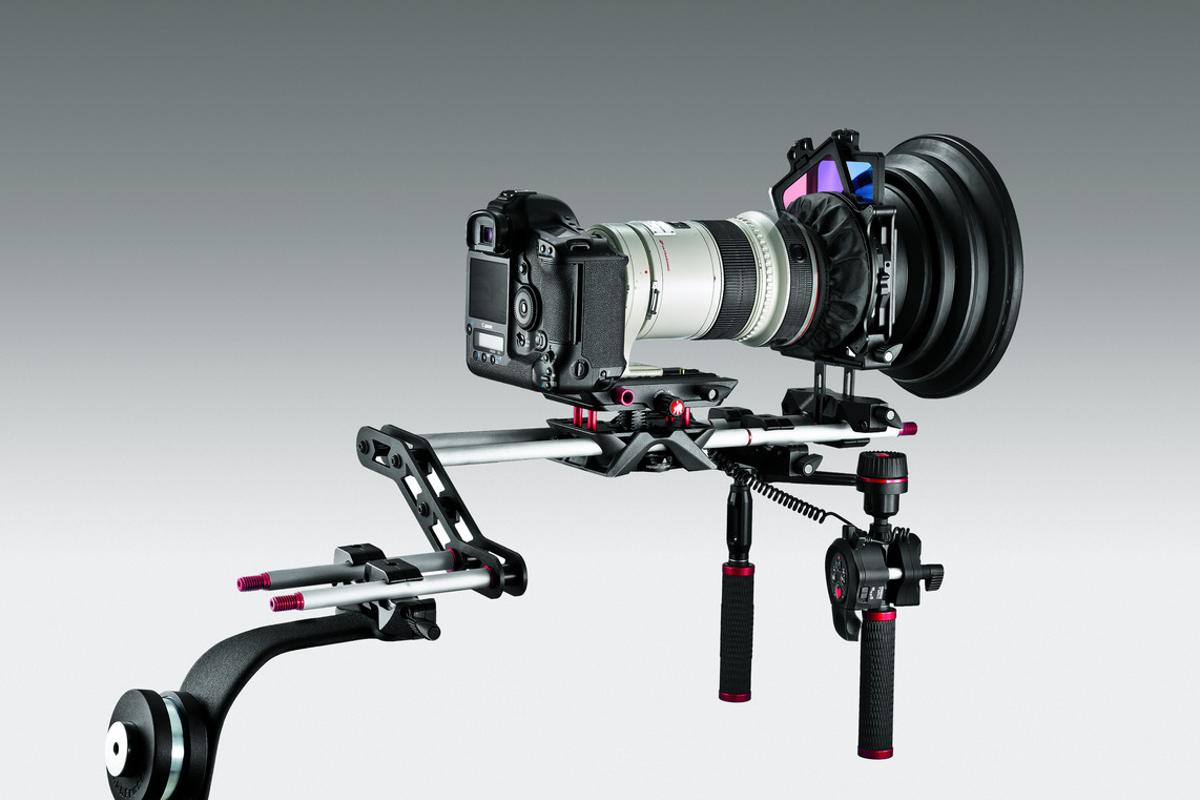 Manfrotto has just launched its SYMPLA modular camera rig, which can be customized for a wide range of shooting scenarios (Shoulder Support configuration is pictured)