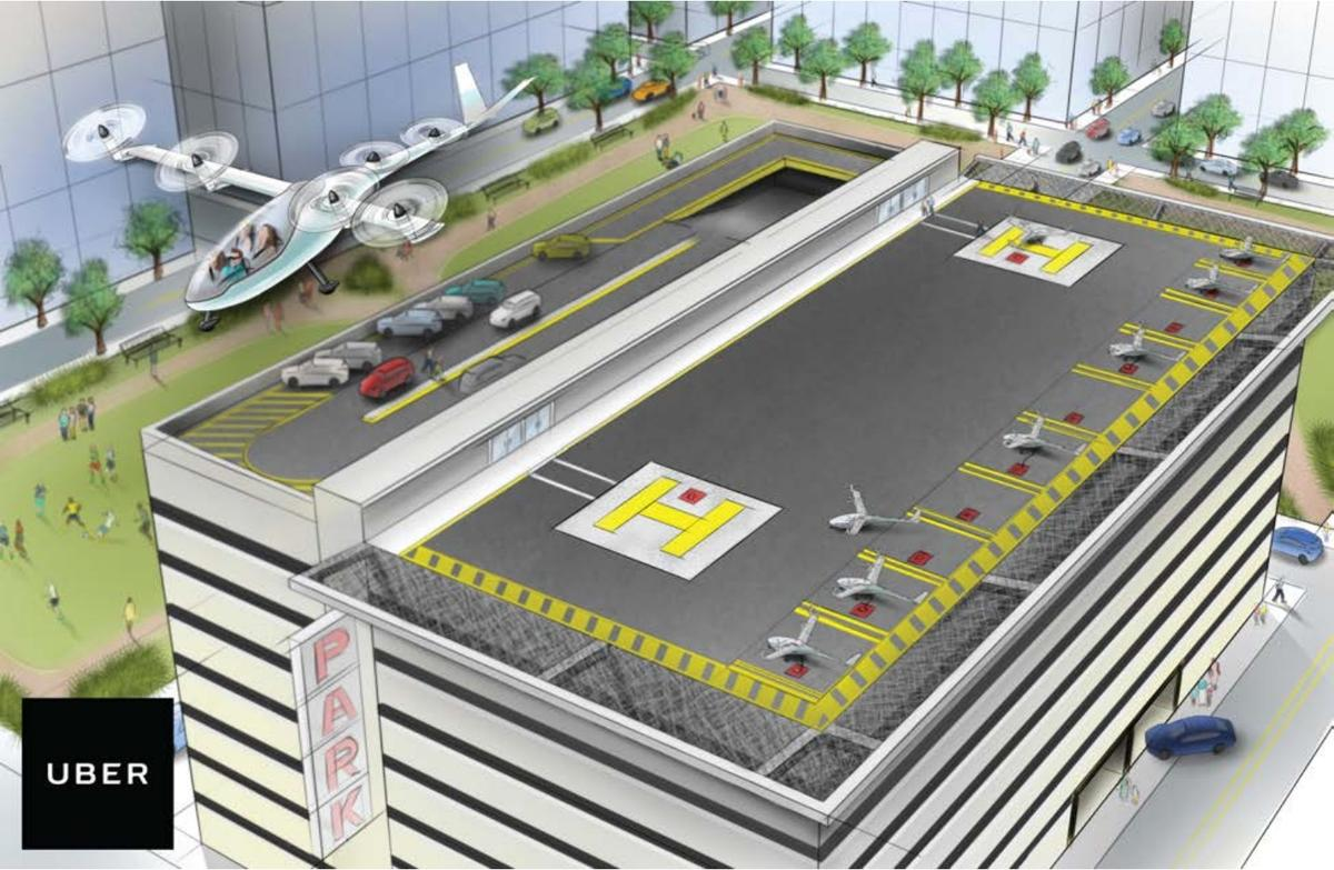 Uber Elevate could see air taxi leave a vertiport built into the top of an urban parking garage