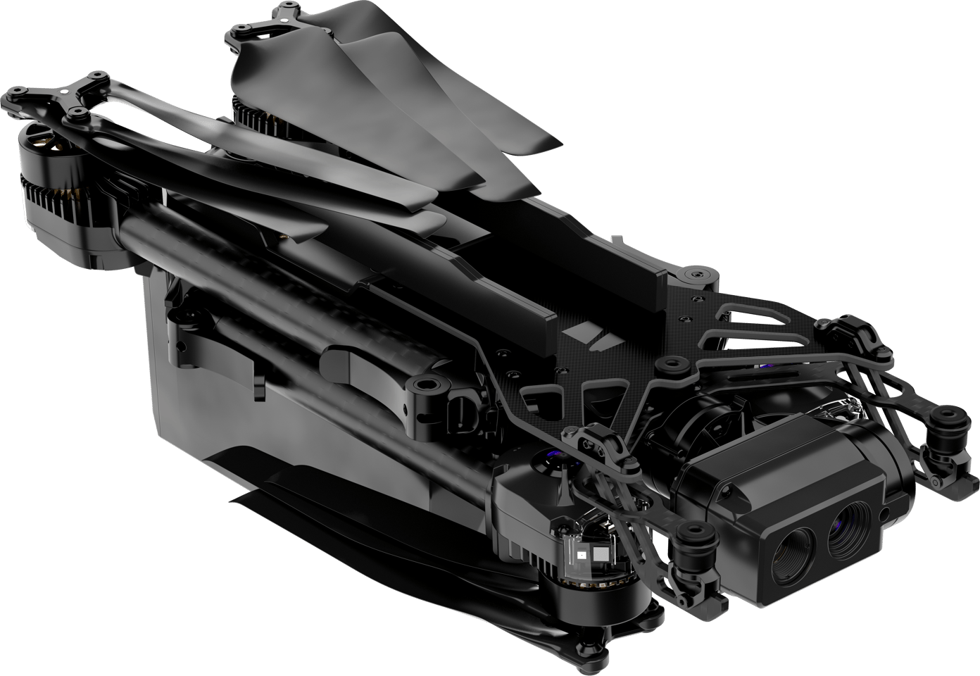 The Skydio X2 folds up for transport