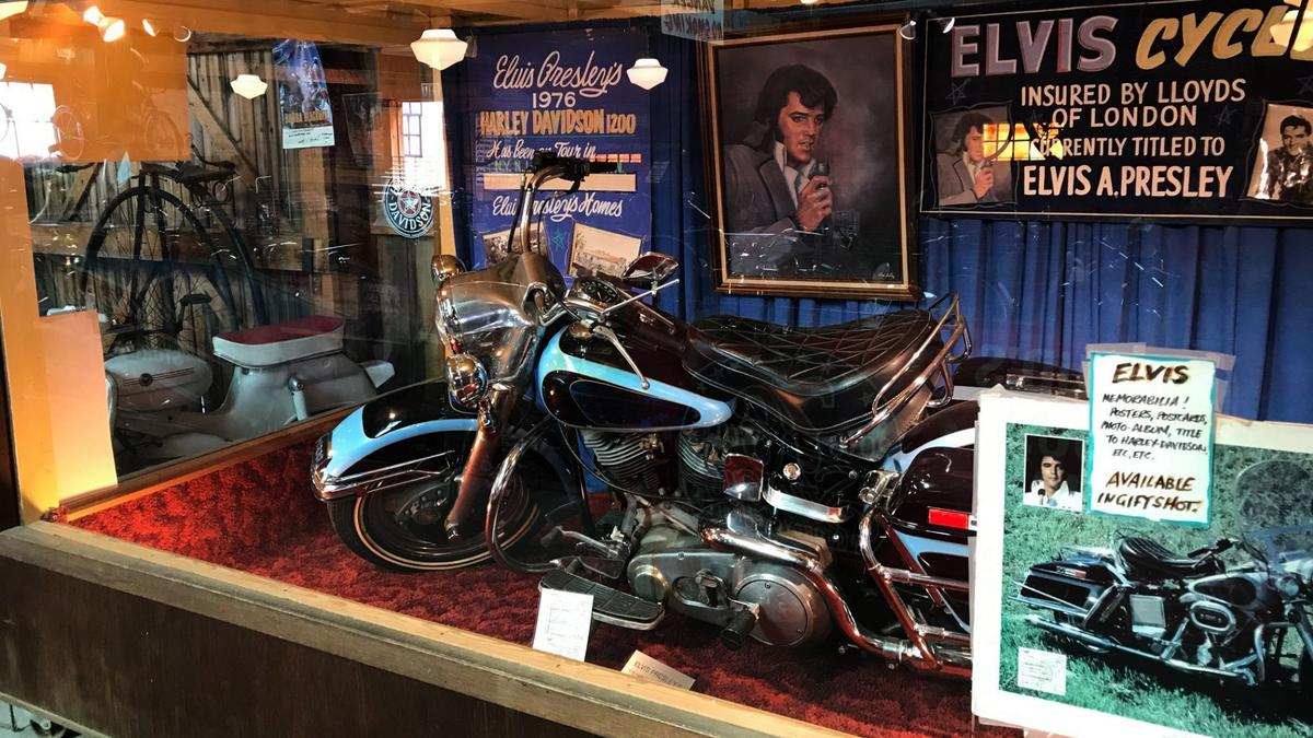 Elvis Presley's1976 Harley-Davidson FLH 1200 Electra Glidehas been on display at the Pioneer Auto Museum for more than 30 years