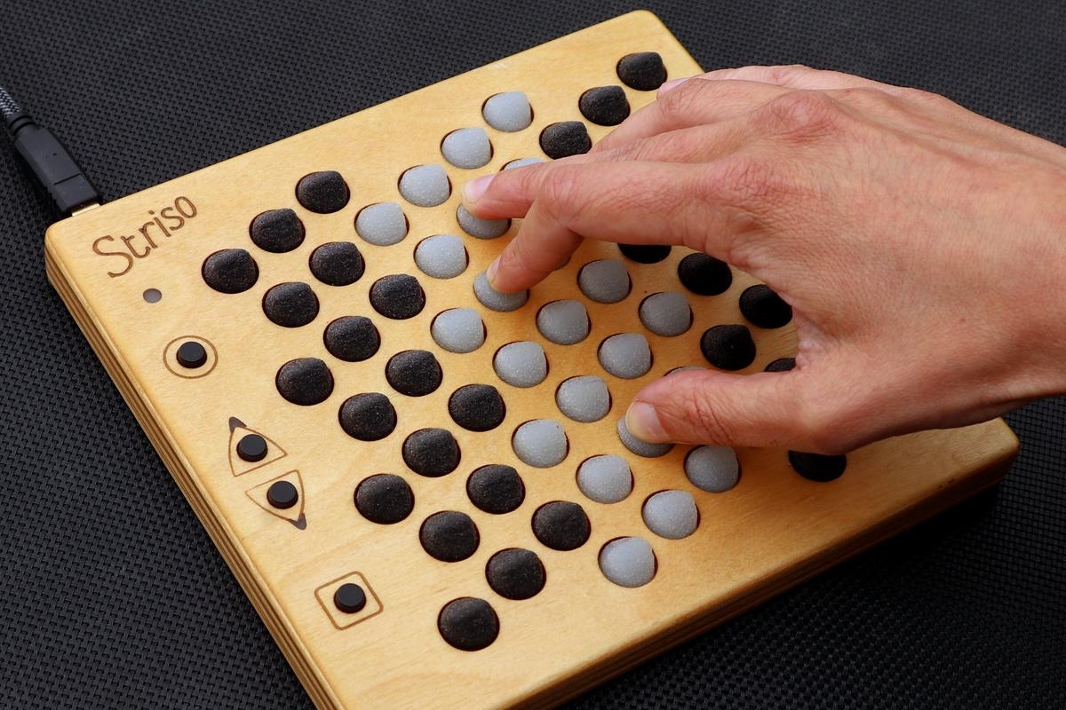 The Striso board is designed for one-handed play, but is capable of 15-note polyphony