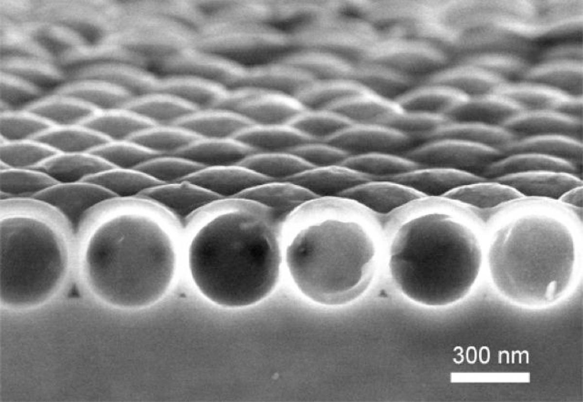 A scanning electron microscope image of a single layer of the nanocrystalline-silicon nanoshells