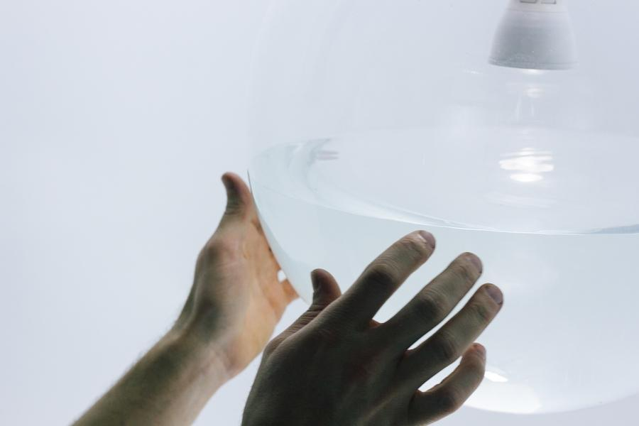 The Rain Lamp employs a waterproof LED lightbulb