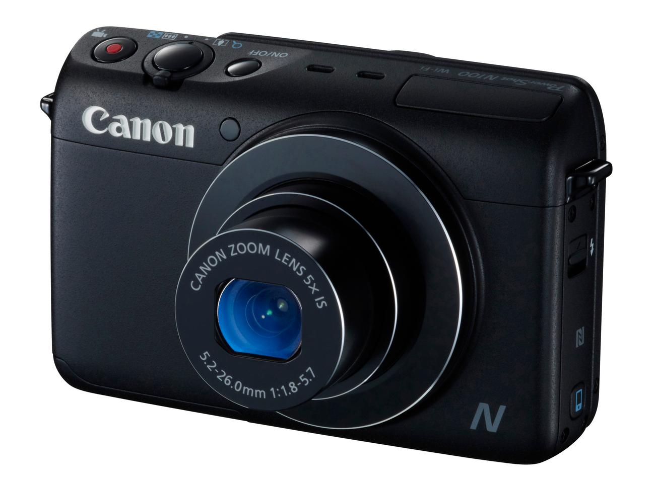 The Canon PowerShot N100 boasts a 12.1-megapixel CMOS sensor, Canon's DIGIC 6 image processor, and a 5x optical zoom