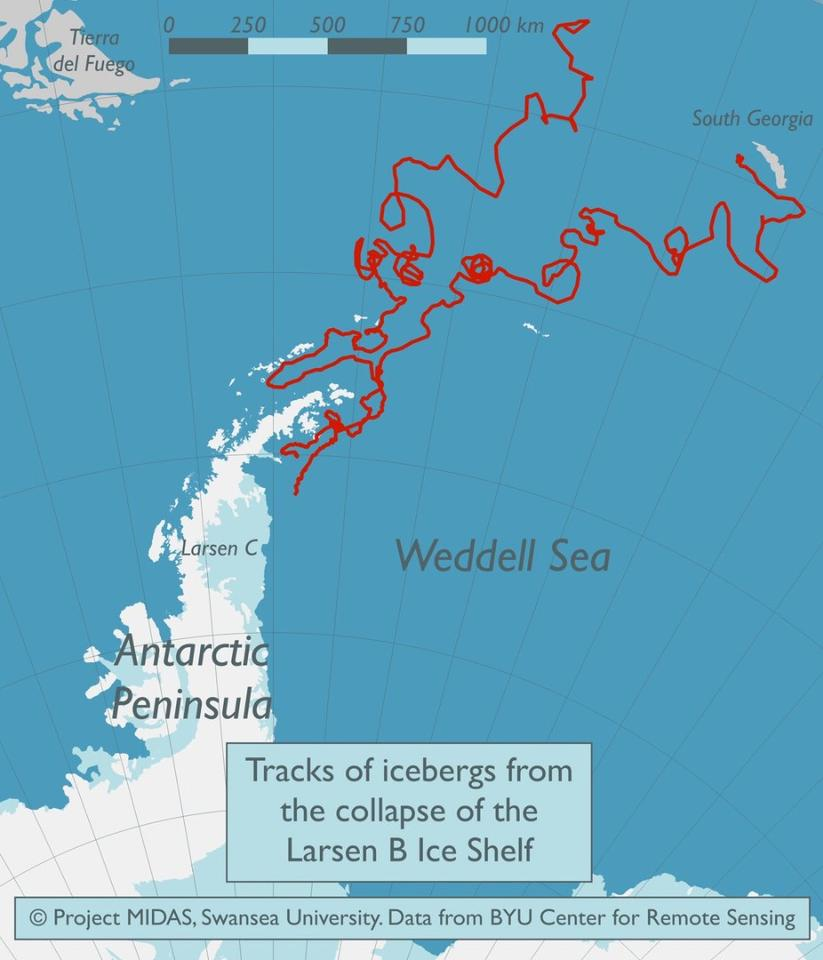 When the Larsen B Ice Shelf released an iceberg in 2002 researchers tracked the movement of the resulting mass