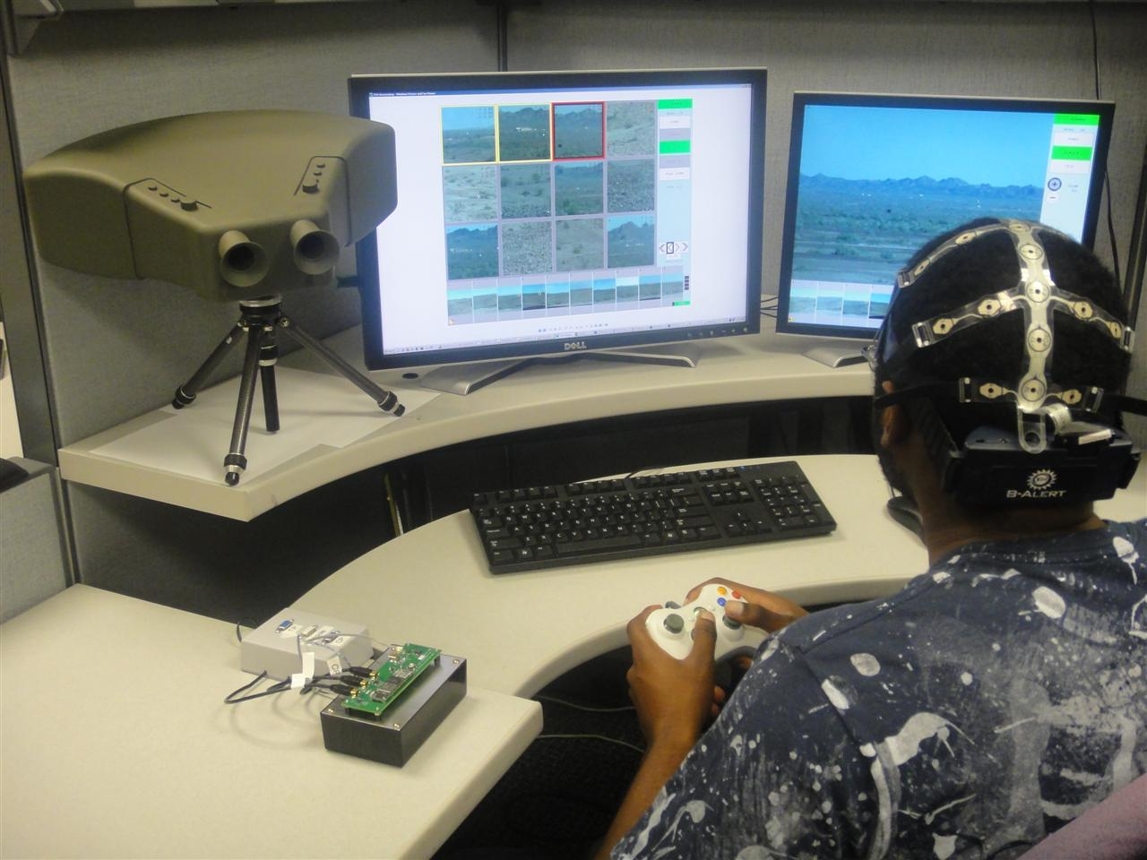 The Cognitive Technology Threat Warning System (CT2WS) uses an EEG cap to detect the operator's brainwaves