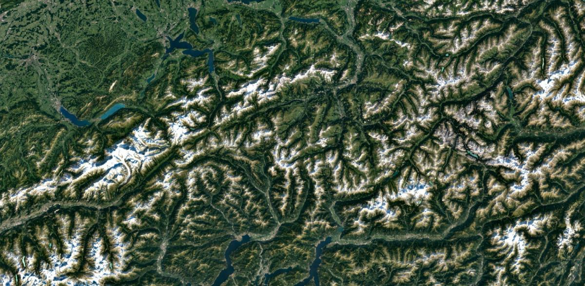 The Swiss Alps as seen through Google Earth's new imagery