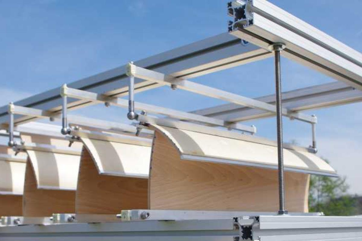 A new sunshade system fromETH Zurich uses changes in humidity to bend planks of wood, creating more or less shade as required