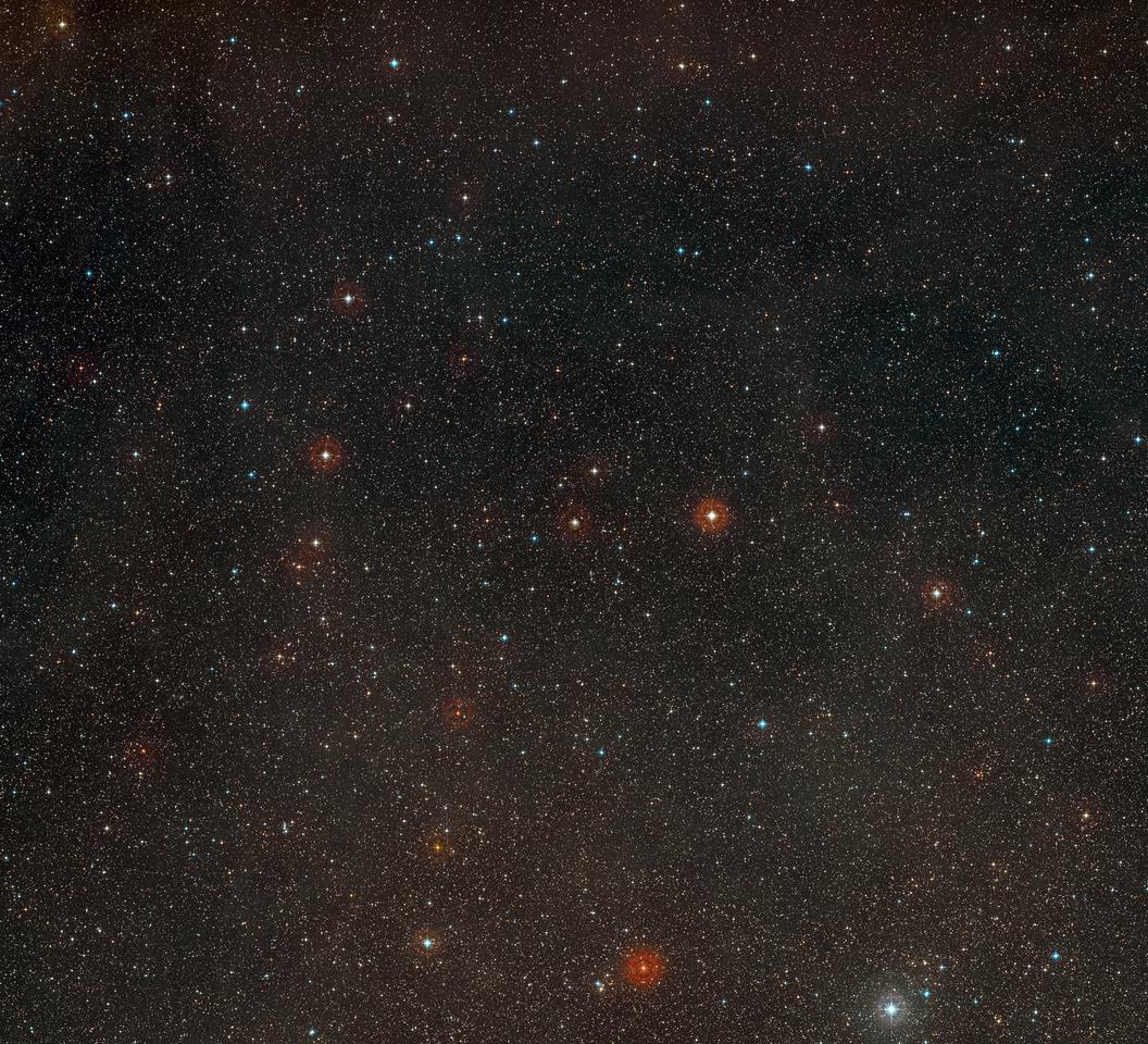 Wide-field view of the sky around the star HD 85512 (Image: ESO and Digitized Sky Survey 2 / Davide De Martin)