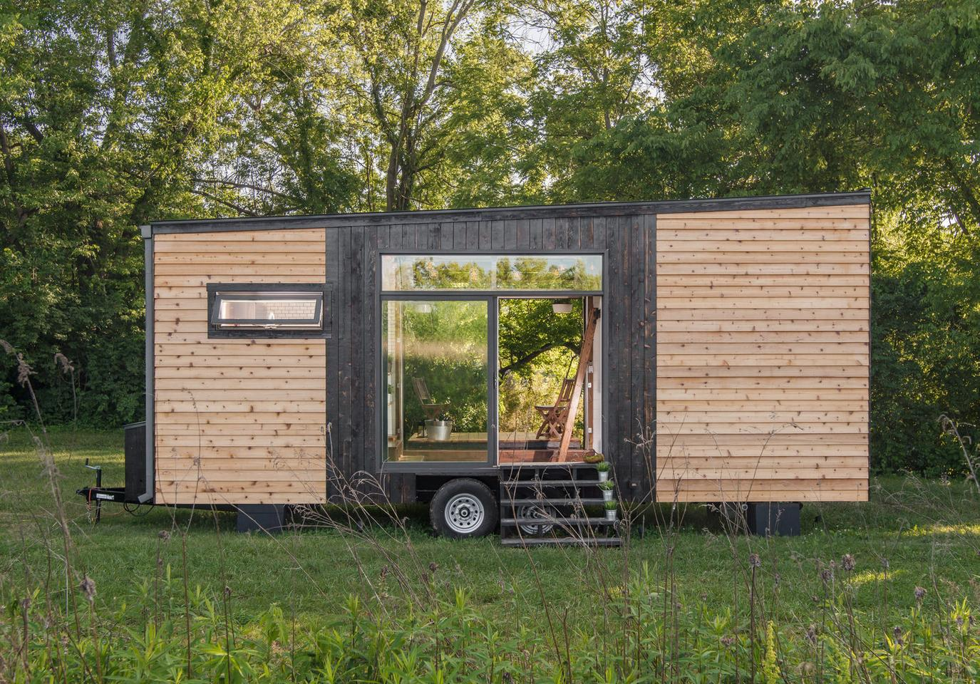The tiny house measures 24 x 8.6 ft (7.3 x 2.6 m)