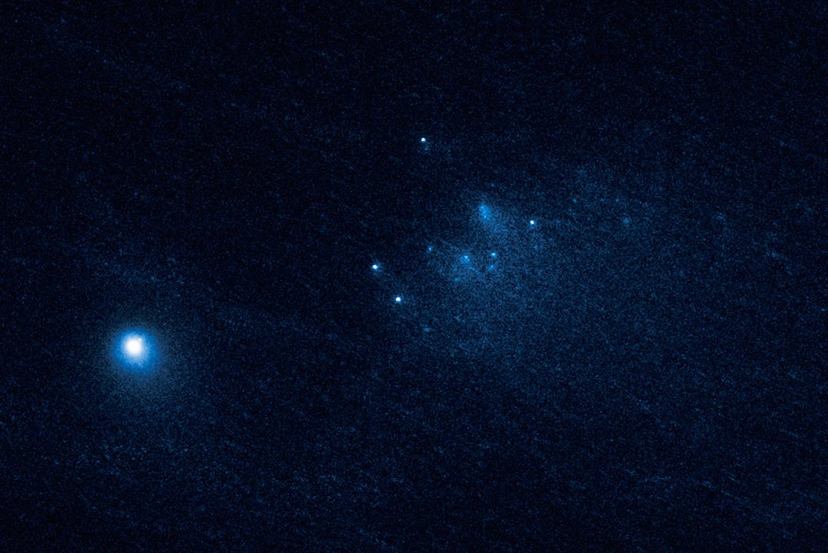 This image, captured on January 27 2016 by the Hubble Space Telescope, is one of three showing Comet 332P fragmenting as it nears the sun