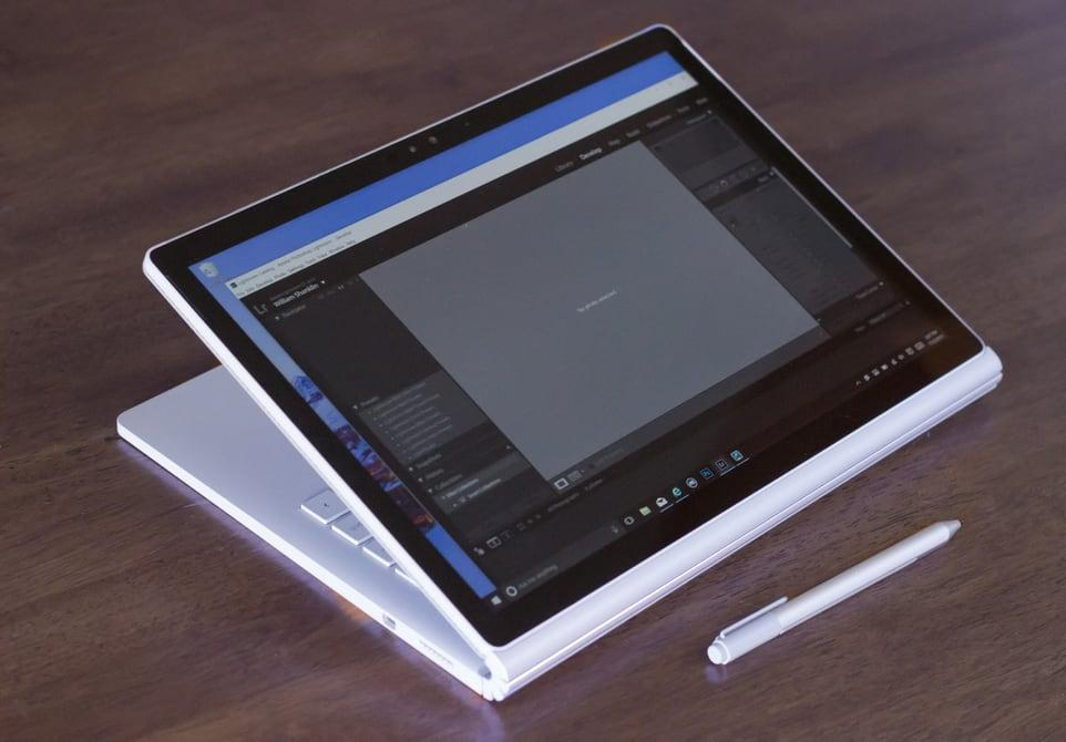 Microsoft Surface Book, shown with screen flipped around in stand mode.