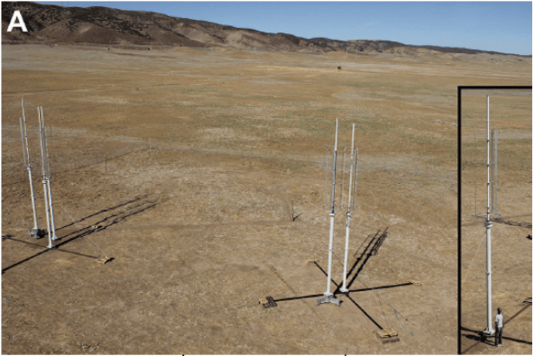 Dabiri's test array of modified Windspires in Antelope Valley, northern Los Angeles County