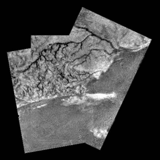 Mosaic of river channel and ridge area on Titan Image: ESA