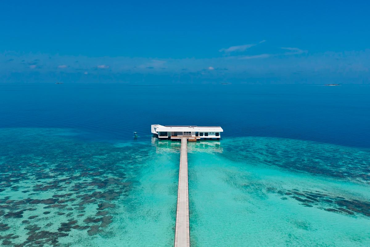 The Muraka (or Coral) villa is located in the same Conrad Maldives Rangali Island resort that hosts the Ithaa underwater restaurant