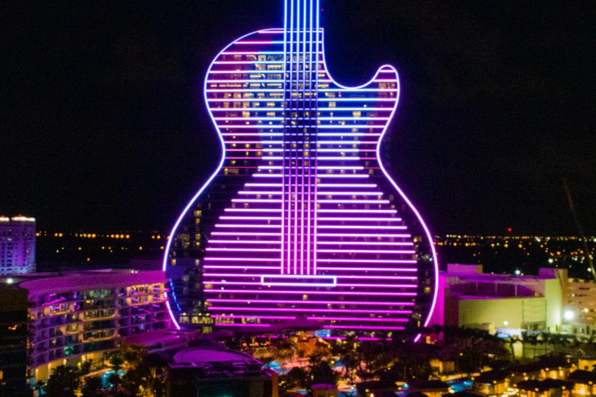 The Seminole Hard Rock Hotel and Casino in Hollywood, Florida, is the world's first guitar-shaped hotel