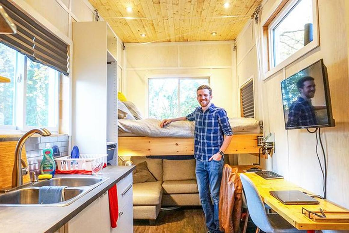 Engineering grad builds Tiny House with an elevator bed for ... on tv house plans, condo house plans, heavy duty house plans, raised roof home, windows house plans, flat house plans, raised roof kitchen, raised roof construction, garage house plans, floor house plans, raised roof design,