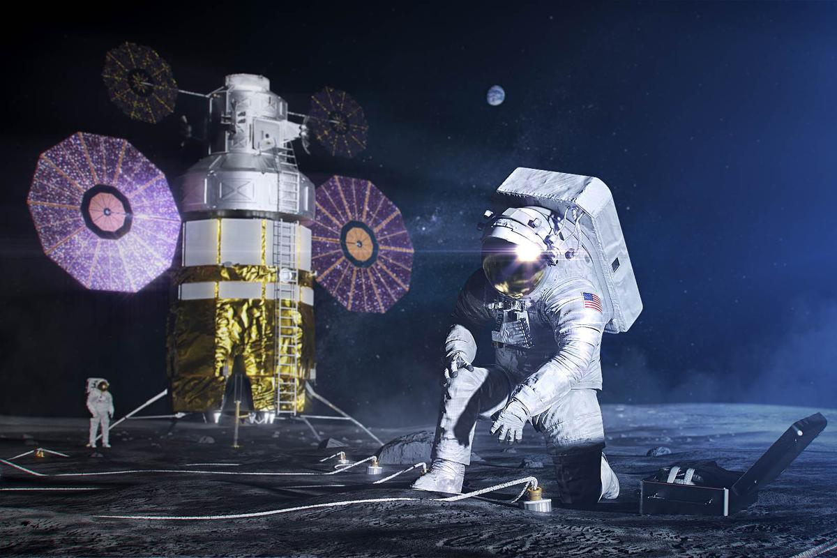 Artist's concept of the new spacesuit on the Moon