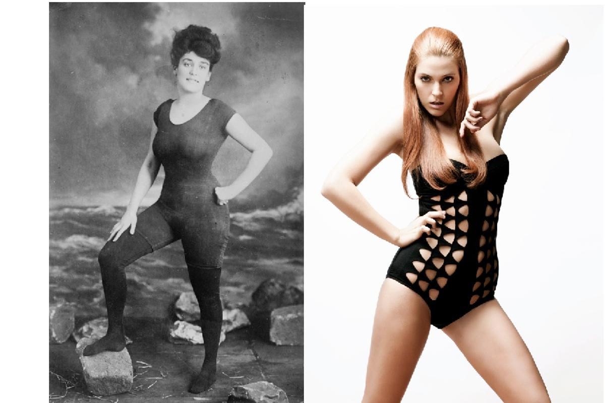 We've come a long way ... from shocking in the early 1900s (left) to blase in 2010, swimsuits, and our attitudes to them, have certainly changed (Images: Australian National Maritime Museum Collection)