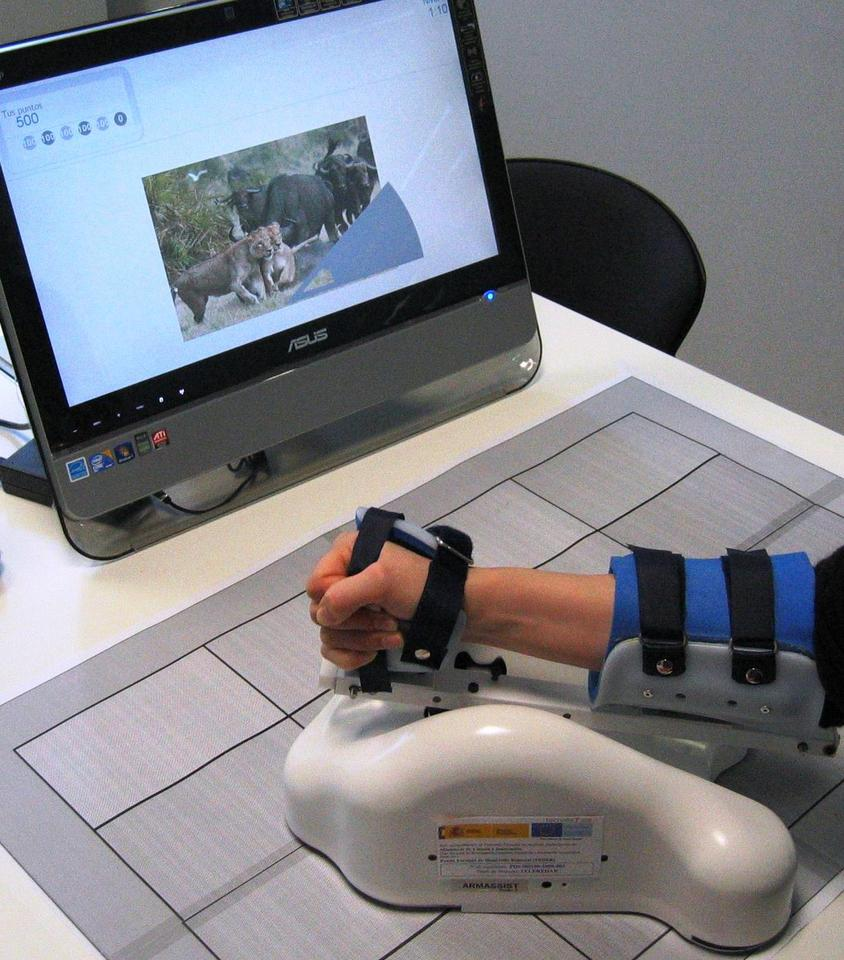 The ArmAssist system is designed to help stroke victims regain the use of their arms by playing custom video games