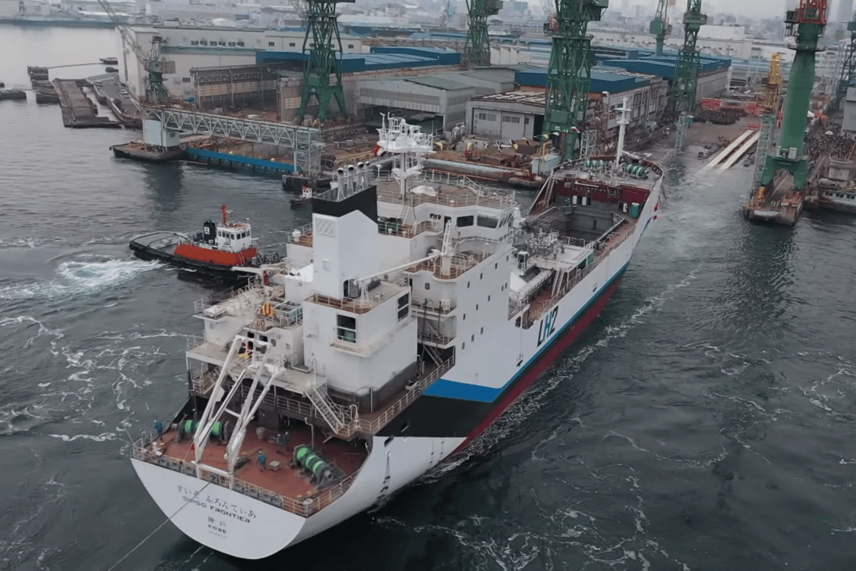 The world's first liquid hydrogen transport ship has been launched by Kawasaki Heavy Industries in Japan