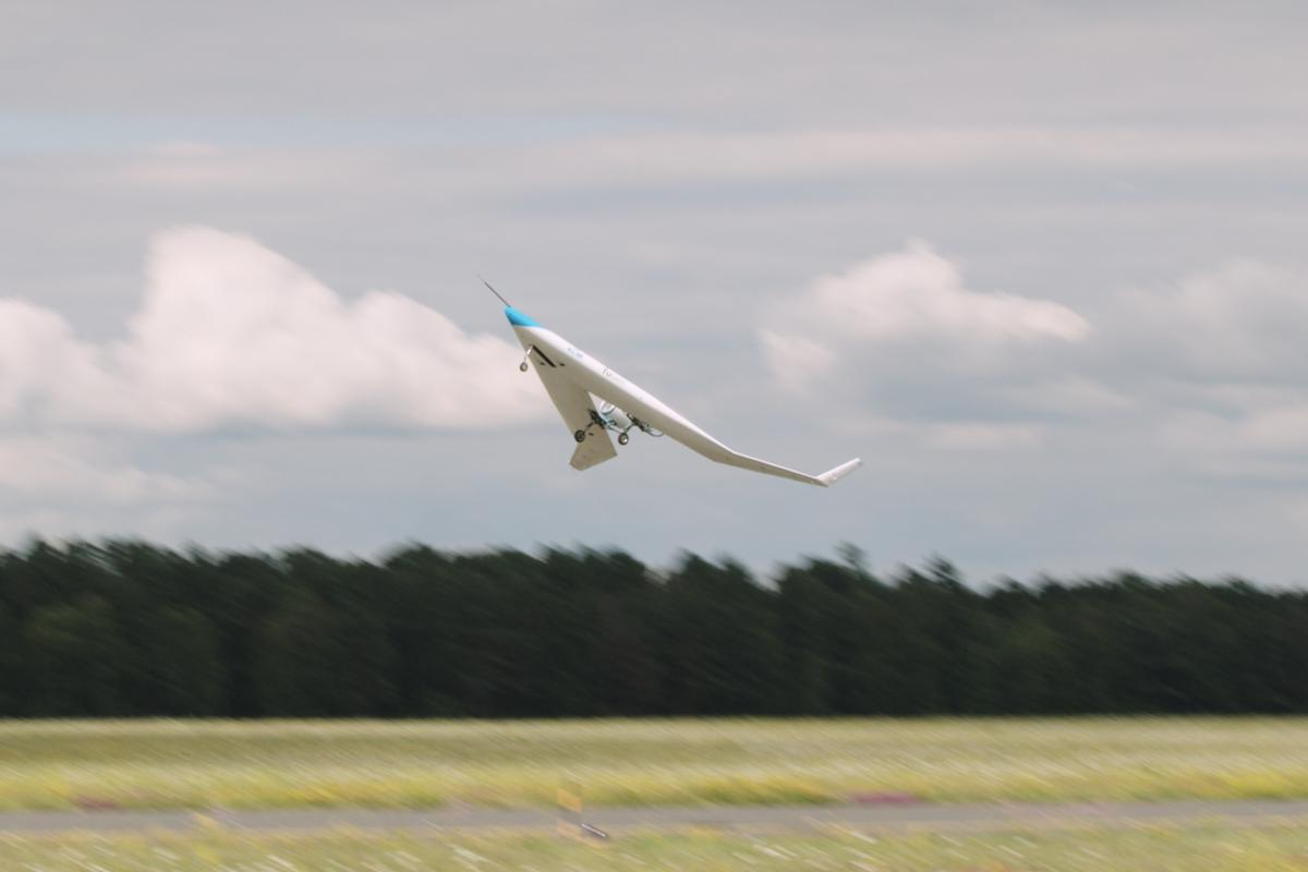 A scale model of the Flying V plane takes to the skies for the first time