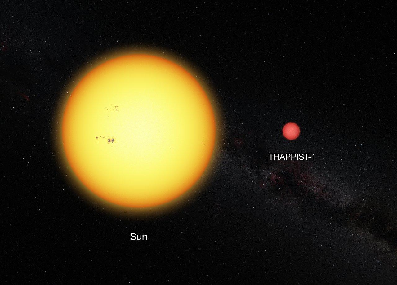 Comparison between our Sun and the ultracool dwarf star TRAPPIST-1