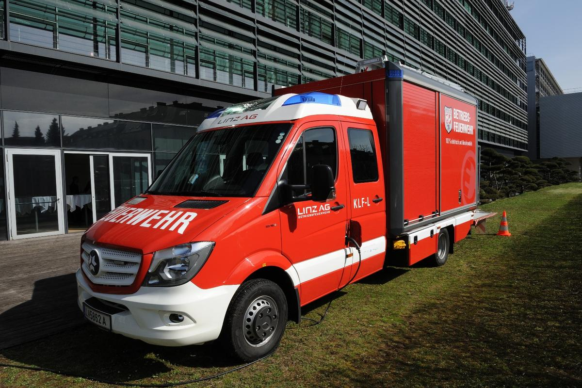 The all-electric tactical vehicle is joining the fleet at the FHKW-Mitte fire station in Linz, Austria