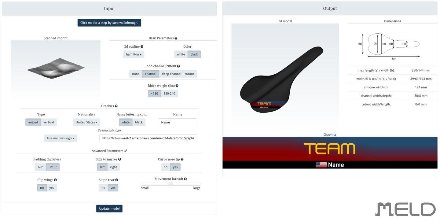 The client accesses a user portal on the Meld website, where they can tweak characteristics such as the saddle's outline (as viewed from above), the presence of a center channel/cutout, and graphics