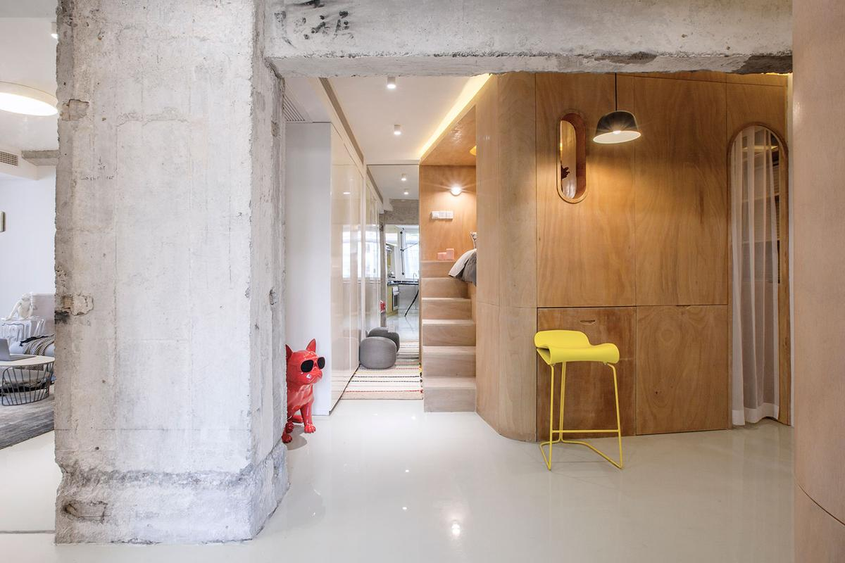 The Ten Degrees apartment features four function boxes to transform a tiny apartment in central Shanghai into a unique smart home