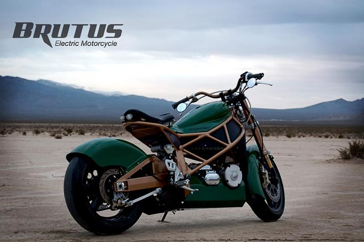 The first version of the Brutus electric motorcycle announced last year, with SLA batteries, naked headlight and hanging rear mirrors